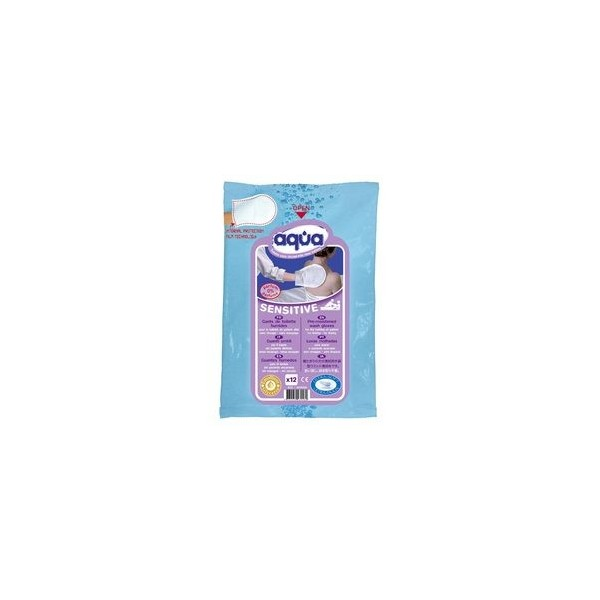 Gants de toilette pré-imbibés - Aqua Sensitive Pack de 12
